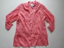 Susan Graver Metallic Stripe Embroidered Gauze Tunic and Knit Tank Salmon Sz XL