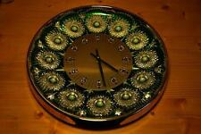 Wall Clock 24 Karat Gold Plated Lead Crystal 12 Stars aufwendigst Top condition RARE!