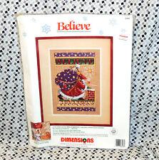 VTG Sealed 1990 Dimensions Christmas Santa Believe Needlepoint Stitch Kit 8408