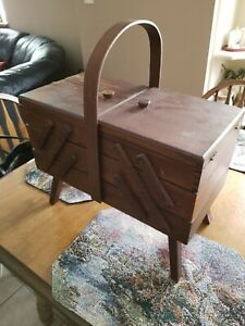 Vintage Accordion Style Wooden Sewing Box