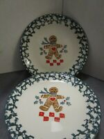 "4 Folk Craft Gingerbread Man Christmas Dinner Salad Plates Plates 7""~EUC~"
