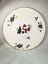 Mikasa DP008 English Countryside Winter Scene Christmas Snowman Plate, 8""