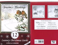 12 ROBINS LUXURY CHRISTMAS CARDS 6 EACH OF 2 DESIGNS 50% OFF RRP NICE VERSE