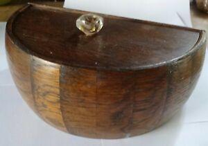 vintage jewellery sewing  trinket box wood treen reversed carved lucite knob