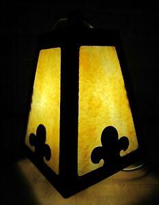 Antique Arts & Crafts Light Fixture Sconce Slag Glass Hammered Textured Finish