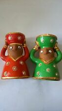 2 PCS RADHA KRISHAN Clay Diya Candle Pot WITH WAX for Pooja OR ANY FESTIVAL