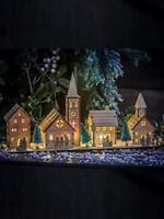 Large Christmas Wooden Church Village Scene Pre-Lit LED Xmas Decoration House