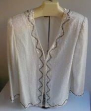 Laurence Kazar Long Sleeved Sequins/Beaded Jacket Ivory Sz Large