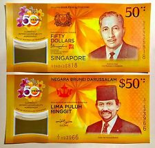 Singapore Brunei $50 Polymer 2 Piece Note Folder Limited Set 7 July 2017 (UNC)