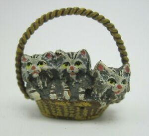Miniature Antique Austria Vienna Cold Painted Bronze Figure 3 Kittens in Basket