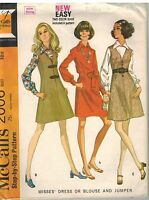 2006 Vintage McCalls Sewing Pattern Misses Dress Blouse Jumper EASY Step by Step