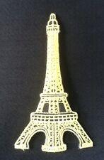 EIFFEL TOWER PARIS CITY FRANCE GOLD SOUVENIR BADGE IRON SEW ON PATCH EIFEL