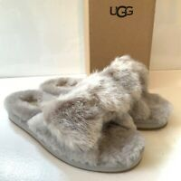 Women's UGG Slippers UK Size 5 6 Grey Fluffy Bow Suede Slip on Renwood Boxed