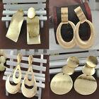 Rock Punk Big Leaf Round Women Water Drop Gold Dangle Earrings Jewelry