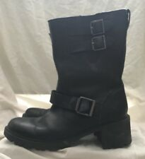 Ladies buckle finish black leather Hydro Shield Block Heel boots by Rockport 5