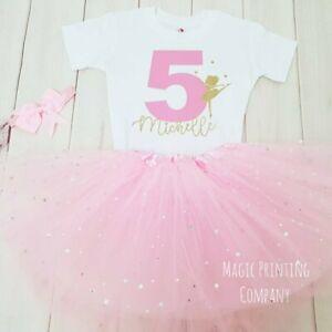 Girls Ballerina Ballet Birthday outfit Tutu T-shirt Dance Personalised Pink Top