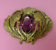LARGE ANTIQUE ART NOUVEAU BROOCH WITH AMETHYST GLASS JEWEL