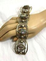 Vintage Taxco Sterling Silver 925 Abalone Shell Wide Link Panel Bracelet