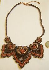 collier perle passementerie excellent état/necklace Embroidered beads gold brown