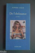Sophie Calle De l'obéissance livre d'artiste artist's book by artist