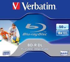 1 Verbatim Rohling Blu-ray BD-R Dual Layer full printable 50GB 6x Jewelcase