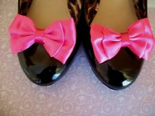 PAIR NEON PINK SATIN DOUBLE BOW SHOE CLIPS VINTAGE STYLE 40'S 50'S GLAMOUR BOWS