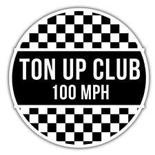 ton up club retro sticker, motorbike, hotrod 85mm x 85mm mod