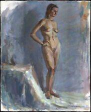 """Russischer Realist Expressionist Öl Leinwand """"Akt"""" 89x72 cm"""