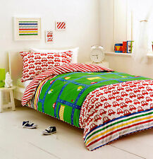 LITTLE DRIVER CARS, ROADS, BUILDINGS AND STRIPES QUILT COVER SET SINGLE NEW
