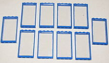 LEGO LOT OF 10 NEW WINDOWS WITH 1x4x6 BLUE FRAMES & CLEAR GLASS TOWN HOUSE CITY