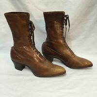 Victorian Boots Ladies High-Top Lace-Up Brown Leather Antique Peters St Louis