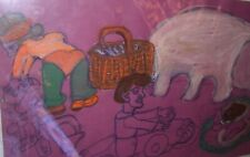 Juanita Rogers   Outsider  Folk Art  drawing signed-   Houndcar Alabama artist