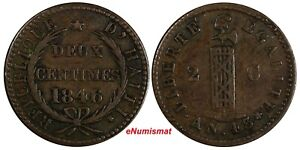 Haiti Copper 1846 // AN 43 2 Centimes KM# 26 Ex.Wolfgang Schuster Coll. (17 558)