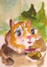 Aceo chipmunk nut wildlife miniature original watercolor painting Delilah Art