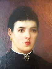 """Huile / Toile Fin XIXe - Portrait """"Lorraine à l'Alérion""""  - 55 x 46 cm F10 - H/T"""