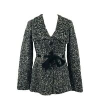 Classiques Entier Women's M Button Front Cardigan Sweater Wool Chunky Knit Tie