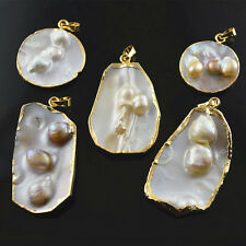 1pc Natural Mother of Pearl MOP Shell Freeform Slab Gold Plating Pendant Jewelry