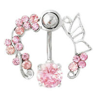HK- Pink Crystal Flower Belly Ring Navel Studs Body Piercing Jewelry Bluelans