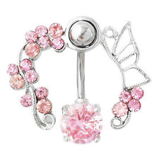 Pink Crystal Flower Belly Ring Navel Studs Body Piercing Jewelry Bluelans