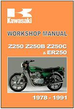 KAWASAKI Workshop Manual Z250 Z250B Z250C ER250 1985 1986 1987 1988 1989 1990 91