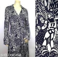 DIANE VON FURSTENBERG DvF JEANNE Silk Jersey Wrap Dress L 12 14 DANCING SAILOR