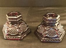2 Avon Ruby Red Cape Cod Candle Holders Vintage