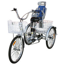 "Trike Bike Adult Tricycle 24"" Aluminium Frame 3 Wheels 6 Speeds WITH Baby Seat"