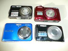 Joblot x5 fotocamere digitali Nikon Coolpix L26 & S210 Fujifilm A170 Olympus u1060