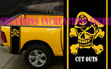 Hemi Dodge Ram Navy Pride Skull Rear Bed Stripes Truck Decals Stickers Set of 2