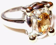 Citrine 925 Sterling Silver Solitaire Ring Size 6.5 NWT