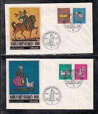 A 110 ) Germany 1969 of 2 FDC -  Tin toys train knight horse railroad