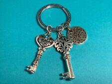 "🌸 Silver Tone ""Passion Heart Key Charms""  Key Fob Key Chain NWOT (K5) 🌸"