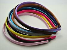 10 Mixed 9mm Plastic Headband Covered Satin Womens Hair Band for DIY Craft Accs