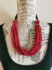 Chunky Red Multi Strand Wooden Beaded Necklace Lagenlook Ethnic Boho Tribal